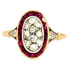 Edwardian Ruby and Diamond 14 Carat Gold Oval Cluster Ring