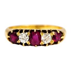 Edwardian Ruby and Diamond 18 Carat Gold Five-Stone Ring