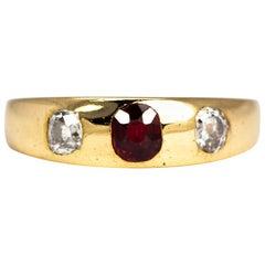 Edwardian Ruby and Diamond 18 Carat Gold Three-Stone Band