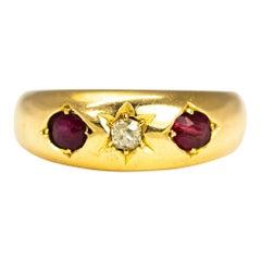 Edwardian Ruby and Diamond 18 Carat Gold Three-Stone Gypsy Ring