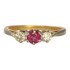 Edwardian Ruby and Diamond 18 Carat Gold Three-Stone Ring