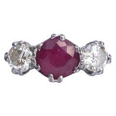 Edwardian Ruby and Diamond 18 Carat Gold Three-Stone Ring