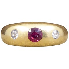 Edwardian Ruby and Diamond Gypsy Set Band in 18 Carat Yellow Gold