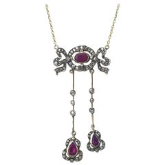 Edwardian Ruby and Diamond Negligee Pendant