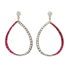 Edwardian Ruby and Diamond Pear-Shaped Hoop Earrings in Platinum and Gold