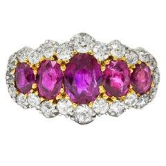 Edwardian Ruby Diamond Platinum-Topped 18 Karat Gold Cluster Ring, 1900
