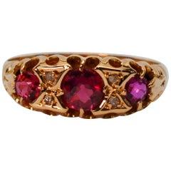 Edwardian Ruby Diamond Yellow Gold Ring
