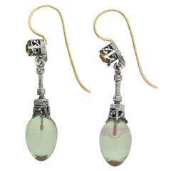 Edwardian Saphiret Teardrop and Champagne Paste Earrings