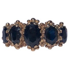 Edwardian Sapphire and 9 Carat Gold Five-Stone Ring