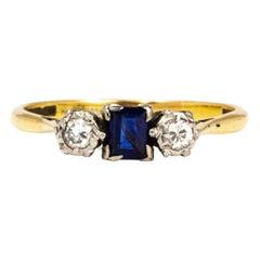 Edwardian Sapphire and Damond 18 Carat Gold Three-Stone Ring