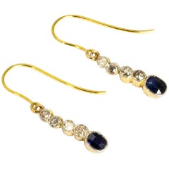 Edwardian Sapphire and Diamond 18 Carat Gold Drop Earrings