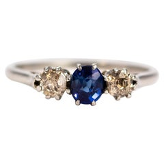 Edwardian Sapphire and Diamond 18 Carat Gold Three-Stone