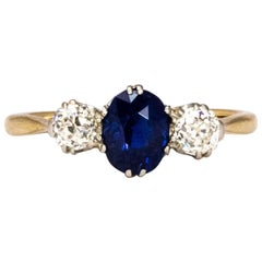 Edwardian Sapphire and Diamond 18 Carat Gold Three-Stone Ring