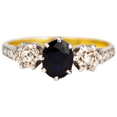 Edwardian Sapphire and Diamond 18 Carat Gold Three-Stone Ring