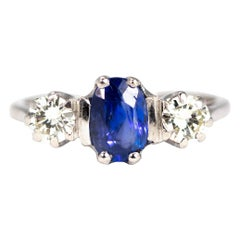 Edwardian Sapphire and Diamond 18 Carat White Gold and Platinum Three-Stone Ring