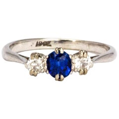 Edwardian Sapphire and Diamond 18 Carat White Gold Three-Stone Ring