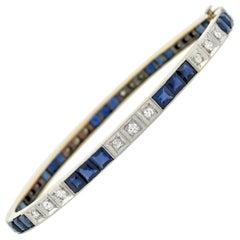 Edwardian Sapphire and Diamond Bangle Bracelet