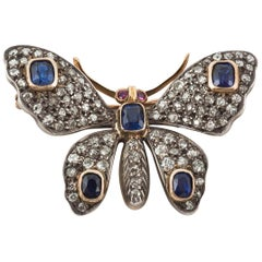 Edwardian Sapphire and Diamond Butterfly Brooch