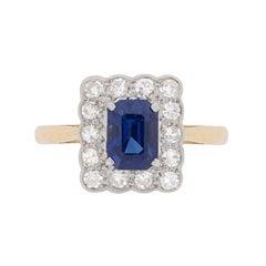 Edwardian Sapphire and Diamond Cluster Ring, circa 1910