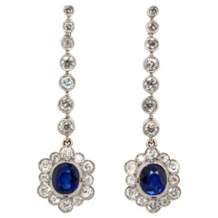 Edwardian Sapphire and Diamond Earrings, 1910s