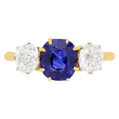 Edwardian Sapphire and Diamond Three-Stone Ring, circa 1910