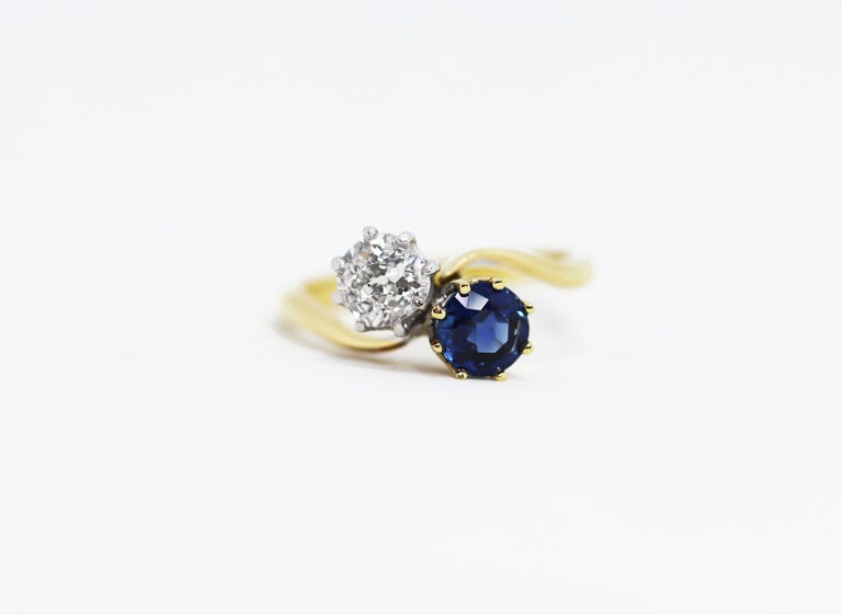 Women's Edwardian Sapphire and Old Mine Cut Diamond Two-Stone Twist Engagement Ring For Sale