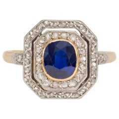 Edwardian Sapphire and Rose Diamond Octagonal Cluster Ring in Platinum and Gold