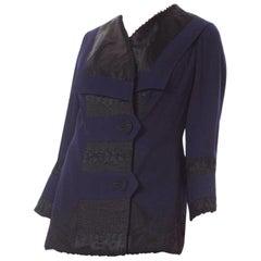 Edwardian Sapphire Blue  & Black Wool Silk Passementerie Embroidered Jacket