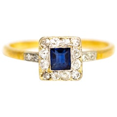 Edwardian Sapphire and Diamond 18 Karat Gold and Platinum Square Cluster Ring