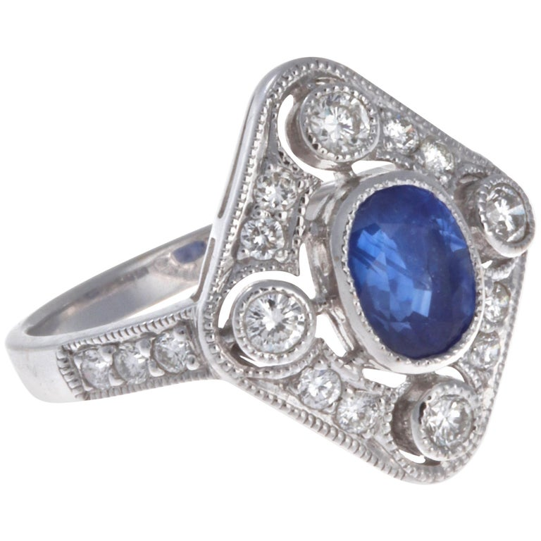Edwardian Sapphire Diamond 18 Karat White Gold Ring For Sale