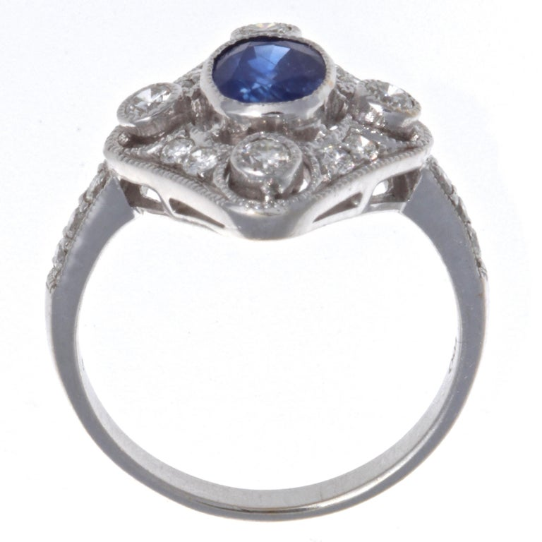 Oval Cut Edwardian Sapphire Diamond 18 Karat White Gold Ring For Sale