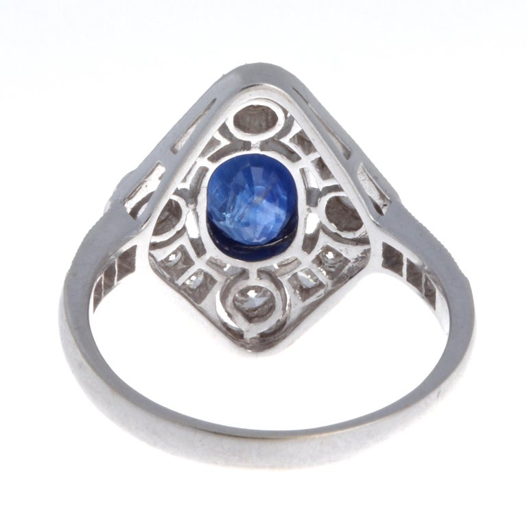 Edwardian Sapphire Diamond 18 Karat White Gold Ring In Good Condition For Sale In Beverly Hills, CA