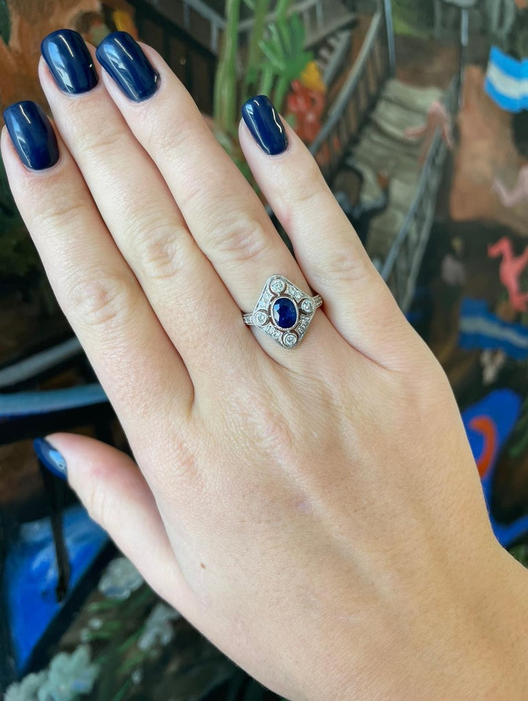 Women's Edwardian Sapphire Diamond 18 Karat White Gold Ring For Sale