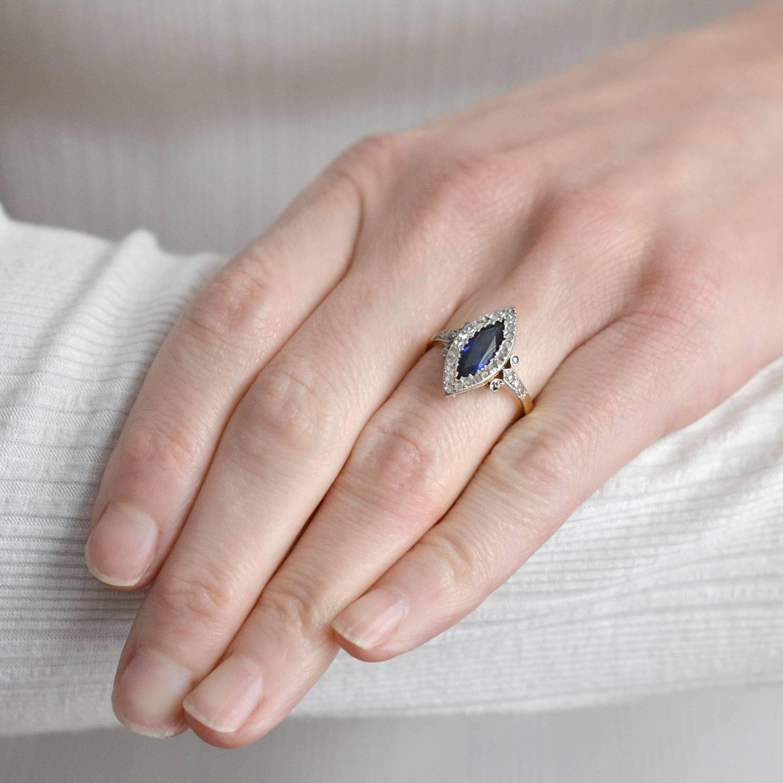Edwardian Sapphire Diamond Navette Ring at 1stdibs