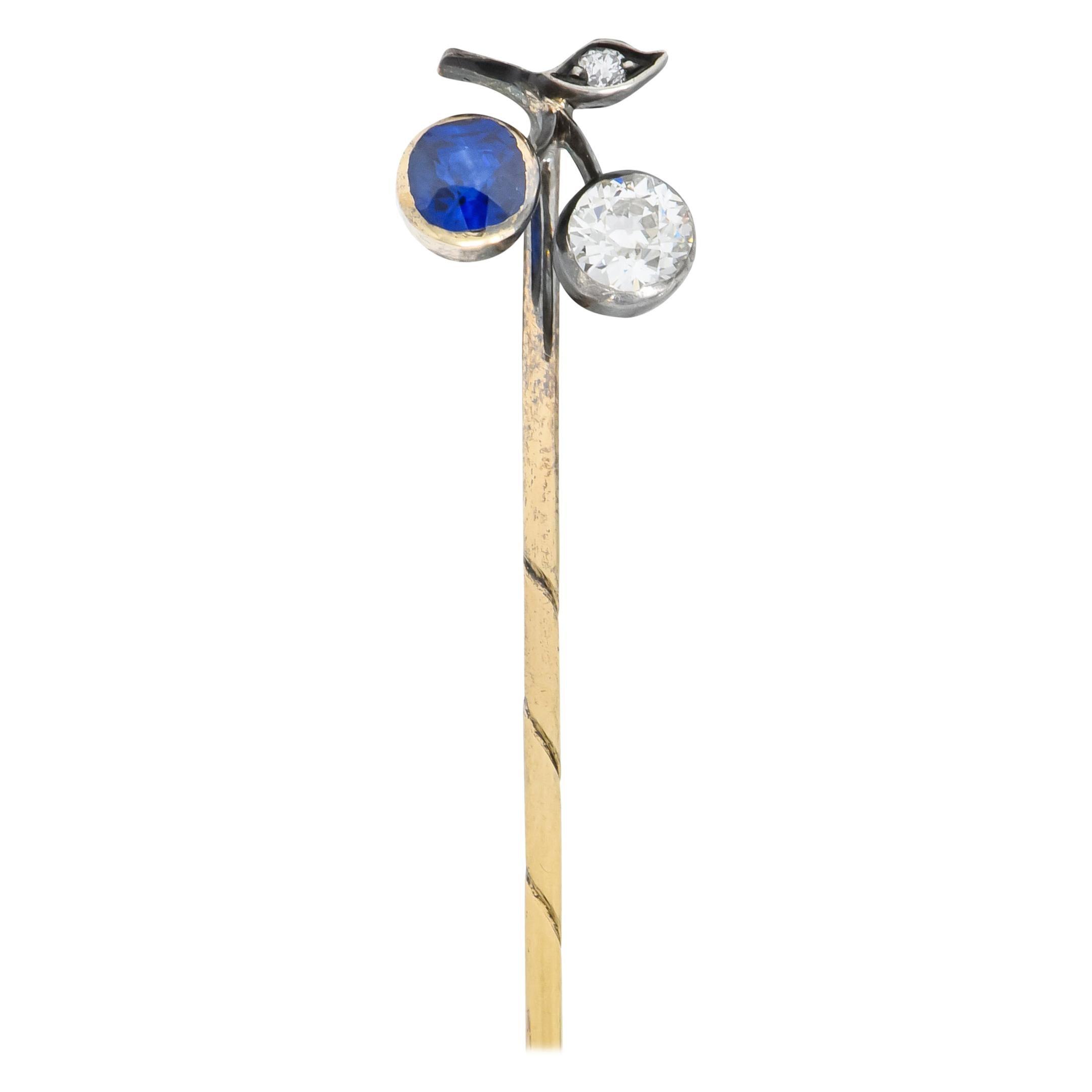 Edwardian Sapphire Diamond Platinum-Topped 14 Karat Gold Cherry Stickpin