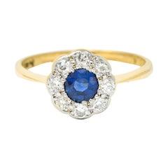 Edwardian Sapphire Diamond Platinum-Topped 19 Karat Gold Cluster Ring