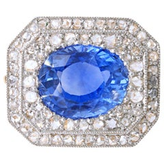 Edwardian Sapphire, No Heat, and Diamond Brooch, circa 1910