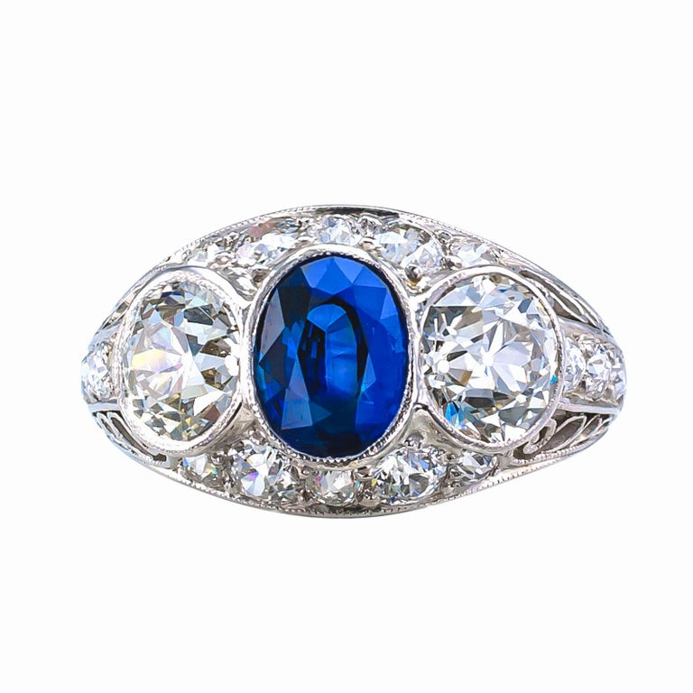 Women's Edwardian Sapphire Old European Cut Diamond Three-Stone Platinum Ring For Sale