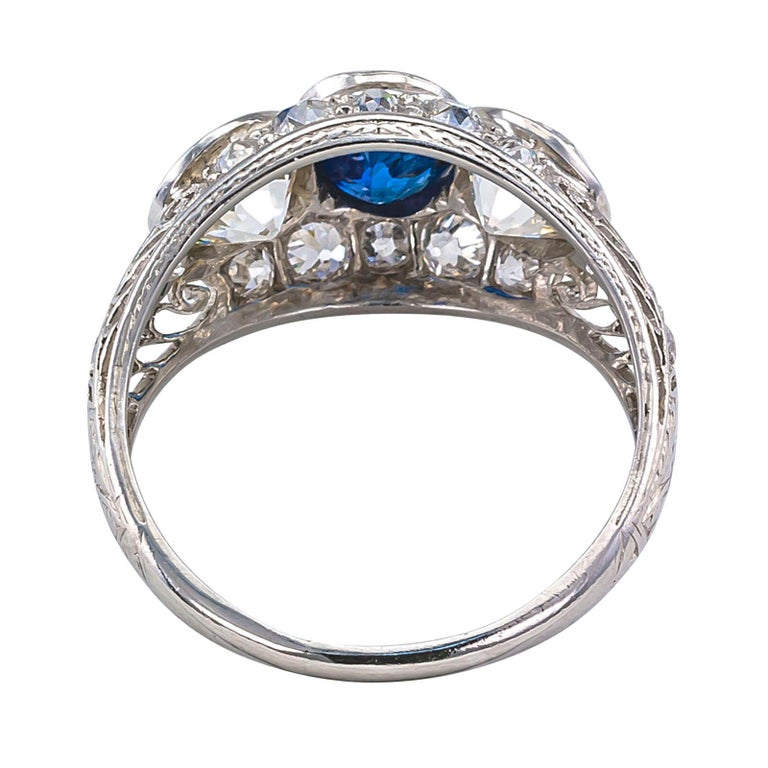 Edwardian Sapphire Old European Cut Diamond Three-Stone Platinum Ring For Sale 2