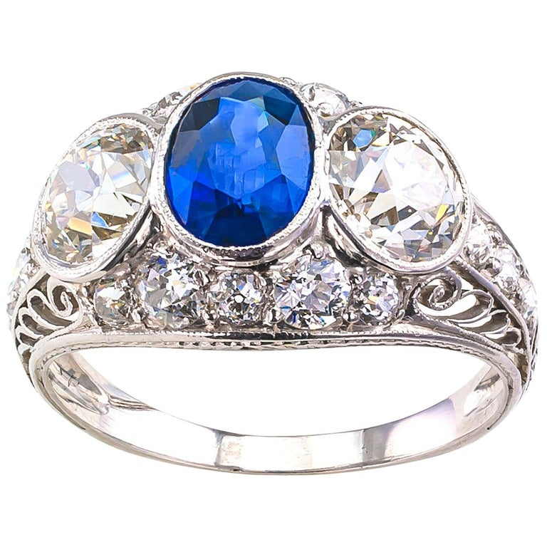 Edwardian Sapphire Old European Cut Diamond Three-Stone Platinum Ring For Sale