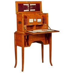 Edwardian Satinwood and Marquetry Traveling Desk Compendium and Stand