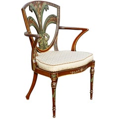 Edwardian Satinwood and Painted Armchair