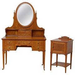 Edwardian Satinwood Dressing Table with Bedside Cabinet