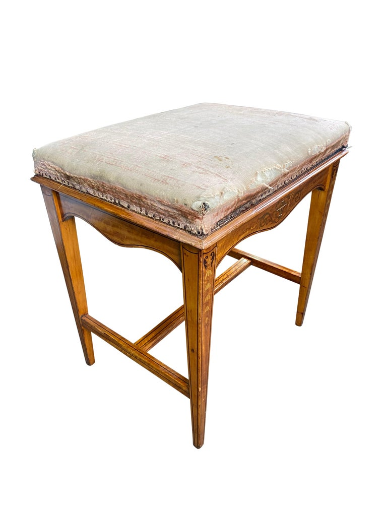 Edwardian Satinwood Stool, 19th Century For Sale 6