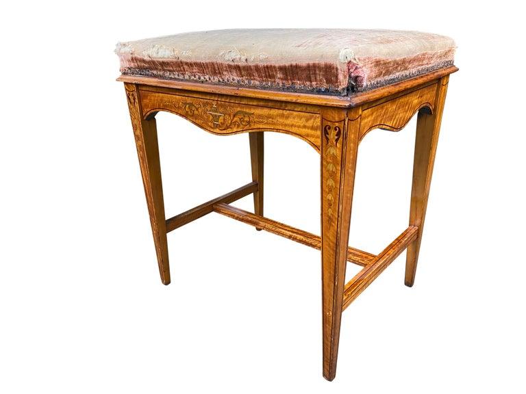 French Edwardian Satinwood Stool, 19th Century For Sale