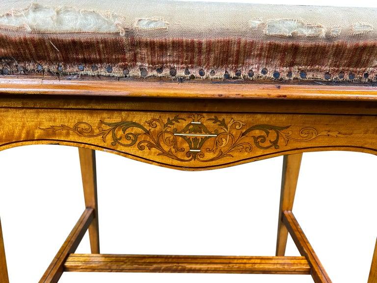 Edwardian Satinwood Stool, 19th Century For Sale 1