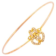 Edwardian Seed Pearl and 9 Carat Gold Bangle