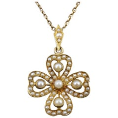 Edwardian Seed Pearl Clover 15 Carat Gold Pendant on 9 Carat Gold Chain