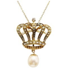 Edwardian Seed Pearl Crown Pendant Necklace with Removable Pearl