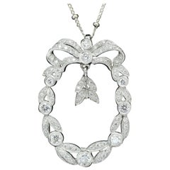 Edwardian Set in 14k White Gold Diamond Pendant